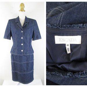 Escada Denim Fringe Dress Set Suit M 8 10